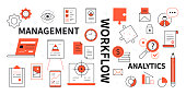 istock Management, workflow and analytics - line design style icons 1314798497