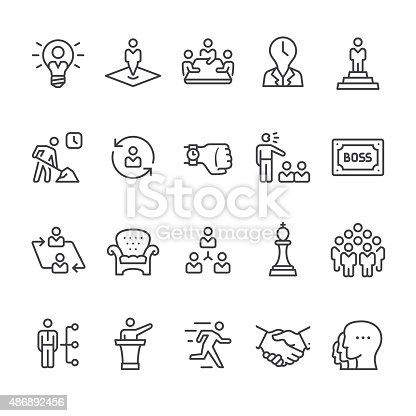 Boss, Manager and Corporate Hierarchy related vector icon set.
