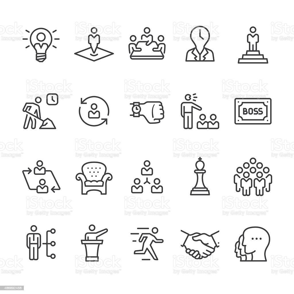 Responsable icônes vectorielles et hiérarchie de l'entreprise - Illustration vectorielle