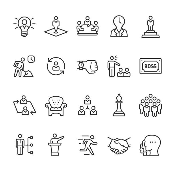 Manager and Corporate Hierarchy vector icons Boss, Manager and Corporate Hierarchy related vector icon set. overworked stock illustrations