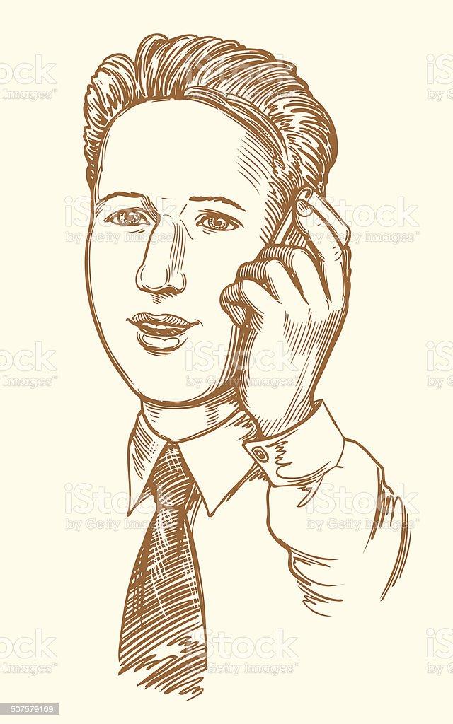 Manager, um den Anruf – Vektorgrafik