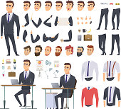 Manager creation kit. Businessman office person arms hands clothes and items vector male character animation project. Illustration of business man creation, body and emotion construction