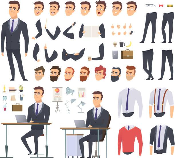 illustrazioni stock, clip art, cartoni animati e icone di tendenza di kit di creazione manager. uomo d'affari ufficio braccia vestiti e oggetti vettoriale maschile personaggio animazione progetto - ritratto in ufficio