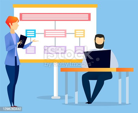 istock Manager Explaining Business Schema on Appointment 1298283442