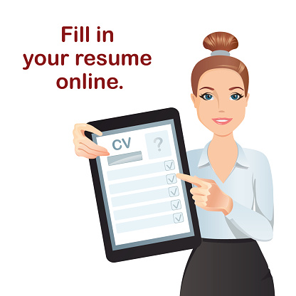 HR manager hires a Professional for the position, holding tablet with online form CV