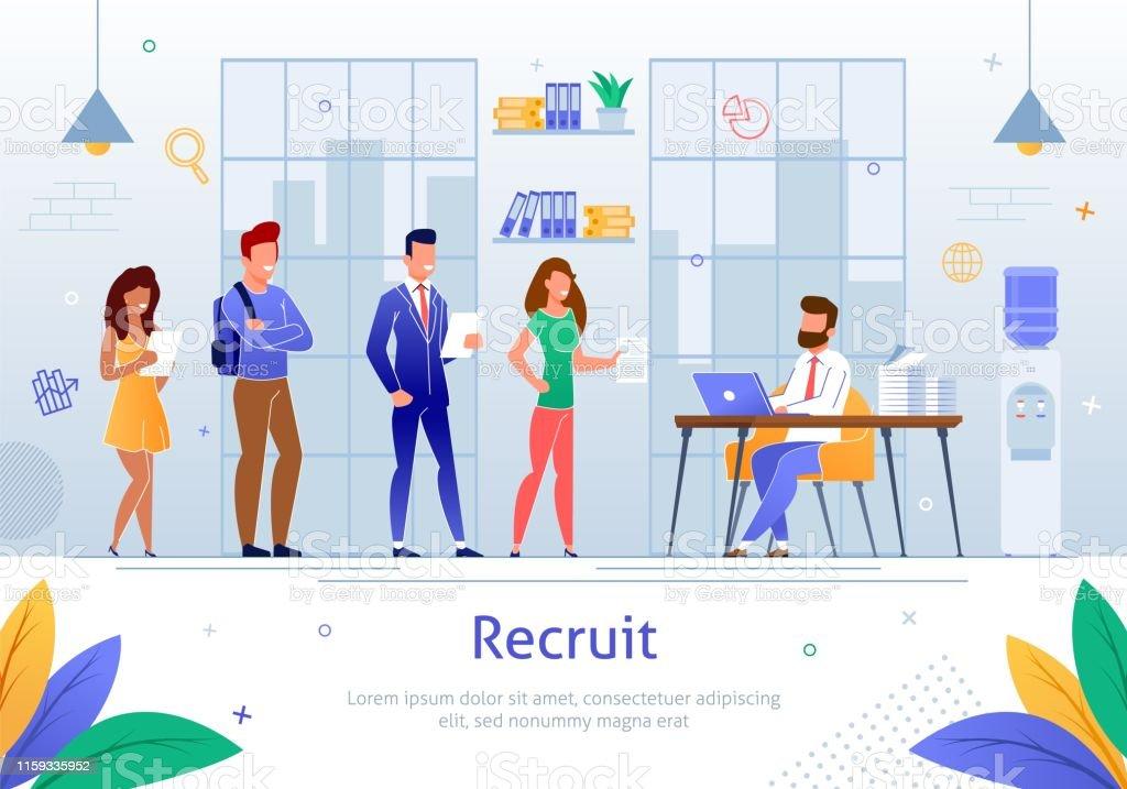 Effective Recruitment, Getting Best Job Flat Vector Banner Template....