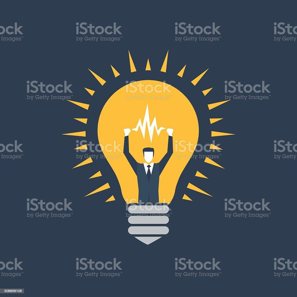 Manager idea bulb Flat design illustration American Heart Association stock vector
