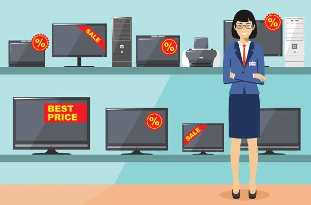 Manager in store with TVs, computers, laptops, printers, monitors. The salesman in the electrical shop. Detailed illustration of the seller on the background of shelves with appliances in flat style. vector art illustration