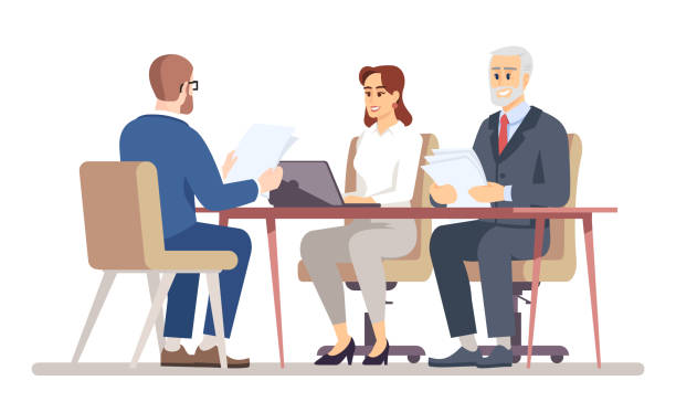 ilustrações de stock, clip art, desenhos animados e ícones de hr manager interviewing job applicant flat vector illustration. business negotiations in office. meeting with jobseeker, partner, client isolated cartoon characters on white background - job interview