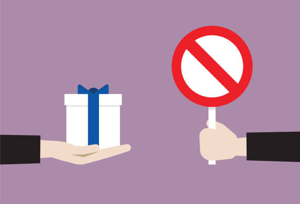 Manager show prohibition sign to gift 'No' Symbol, Accessibility, Adult, Bribing bribing stock illustrations