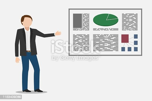 Manager showing financial report. Vector illustration.