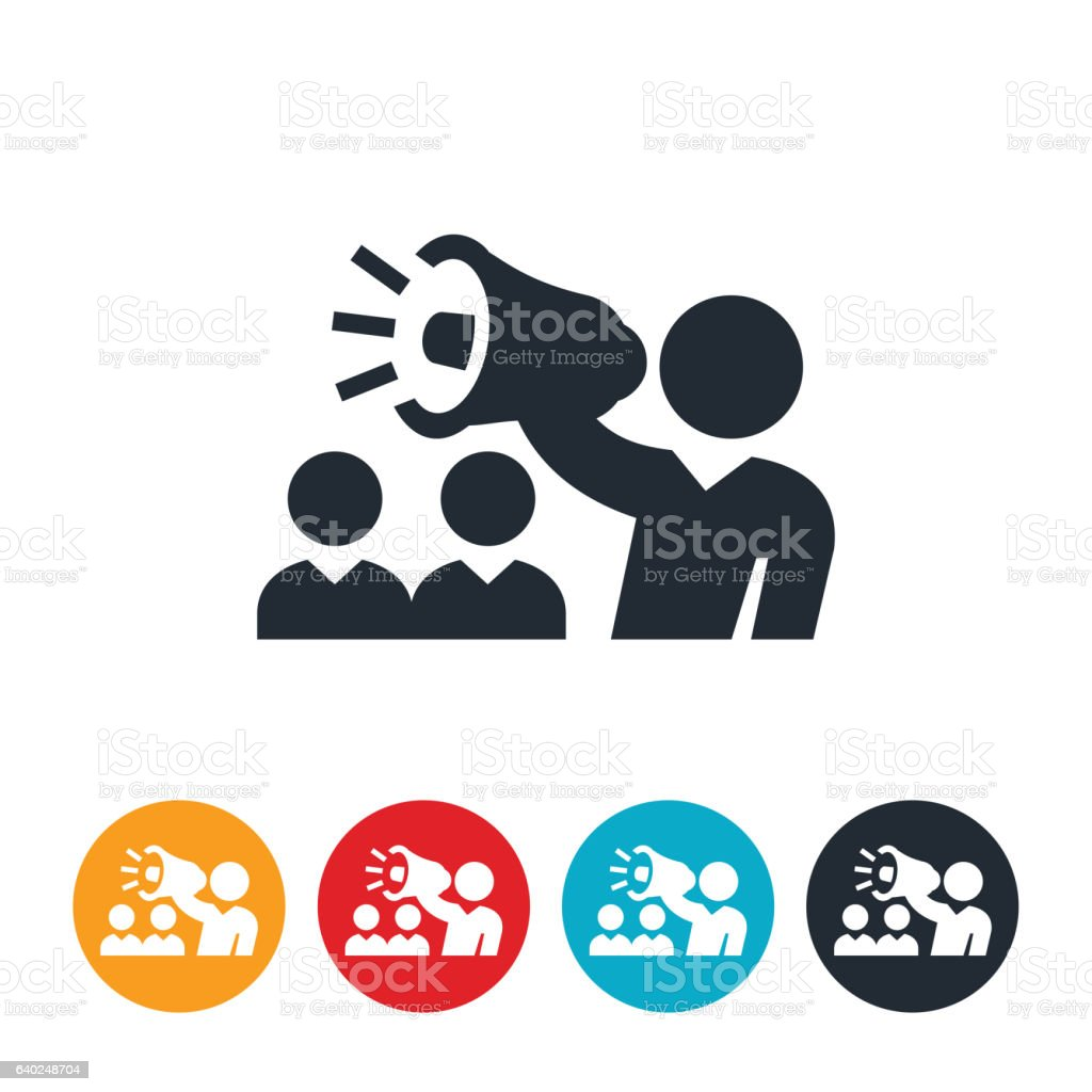 Manager With Bullhorn Icon vector art illustration