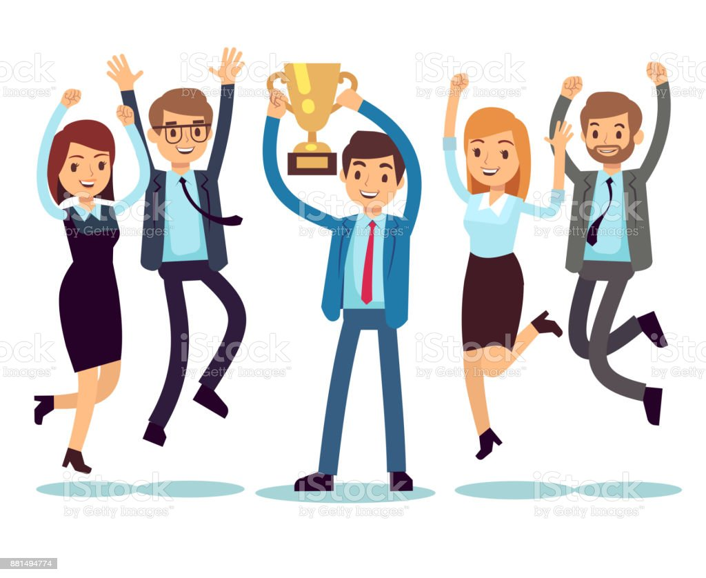 Manager with winning trophy cup and jumping employees. Success business team vector flat concept vector art illustration