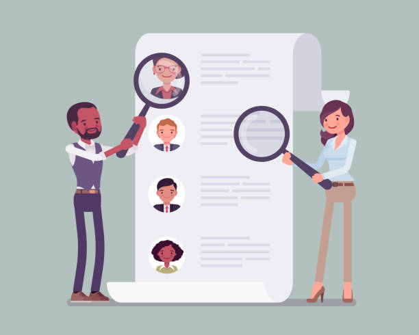 HR managers searching for employee HR managers searching for employee. Male and female workers of recruiting service with magnifying glass looking for best candidate cv, recruitment agency trying to find new talent. Vector illustration candidate stock illustrations