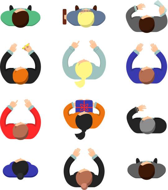 マネージャのトップビュー。立っているか、座っているビジネス人男性と女性オフィスベクターフラット写真で作業 - 人 俯瞰点のイラスト素材/クリップアート素材/マンガ素材/アイコン素材