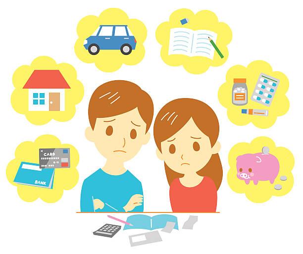ilustrações de stock, clip art, desenhos animados e ícones de família, as despesas de gestão de finanças - bills couple