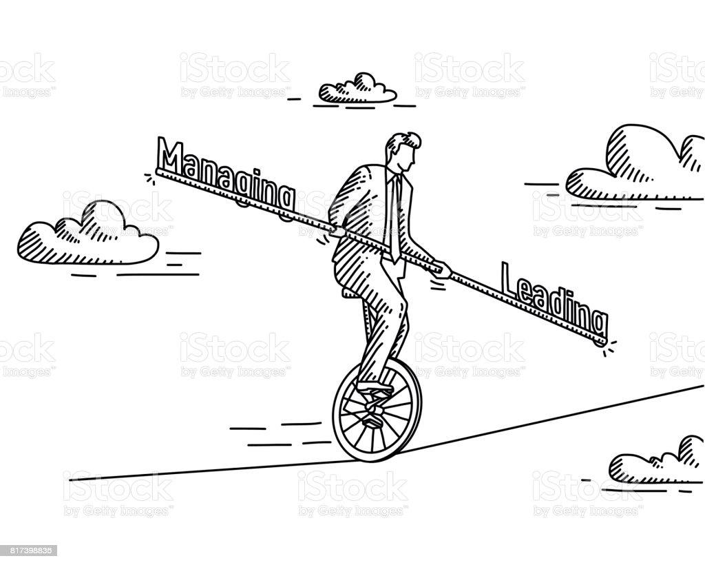 管理 Vs 領導向量藝術插圖