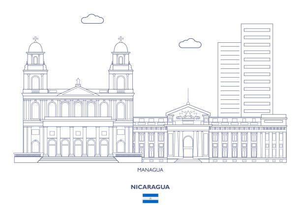 skyline stadt managua, nicaragua - managua stock-grafiken, -clipart, -cartoons und -symbole