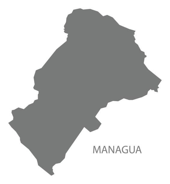 karte von managua nicaragua grau abbildung silhouette form - managua stock-grafiken, -clipart, -cartoons und -symbole