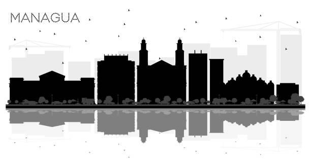 managua nicaragua skyline schwarz-weiß stadtsilhouette mit reflexionen. - managua stock-grafiken, -clipart, -cartoons und -symbole