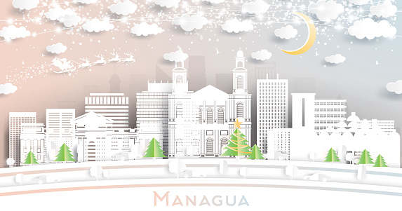 Managua Nicaragua City Skyline in Paper Cut Style with Snowflakes, Moon and Neon Garland.