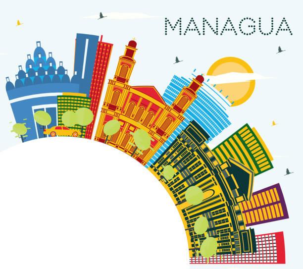 managua nicaragua skyline mit farbgebäuden, blauem himmel und kopierraum. - managua stock-grafiken, -clipart, -cartoons und -symbole