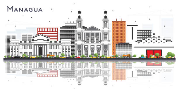 managua nicaragua skyline mit grauen gebäuden und reflexionen isoliert auf weiß. - managua stock-grafiken, -clipart, -cartoons und -symbole