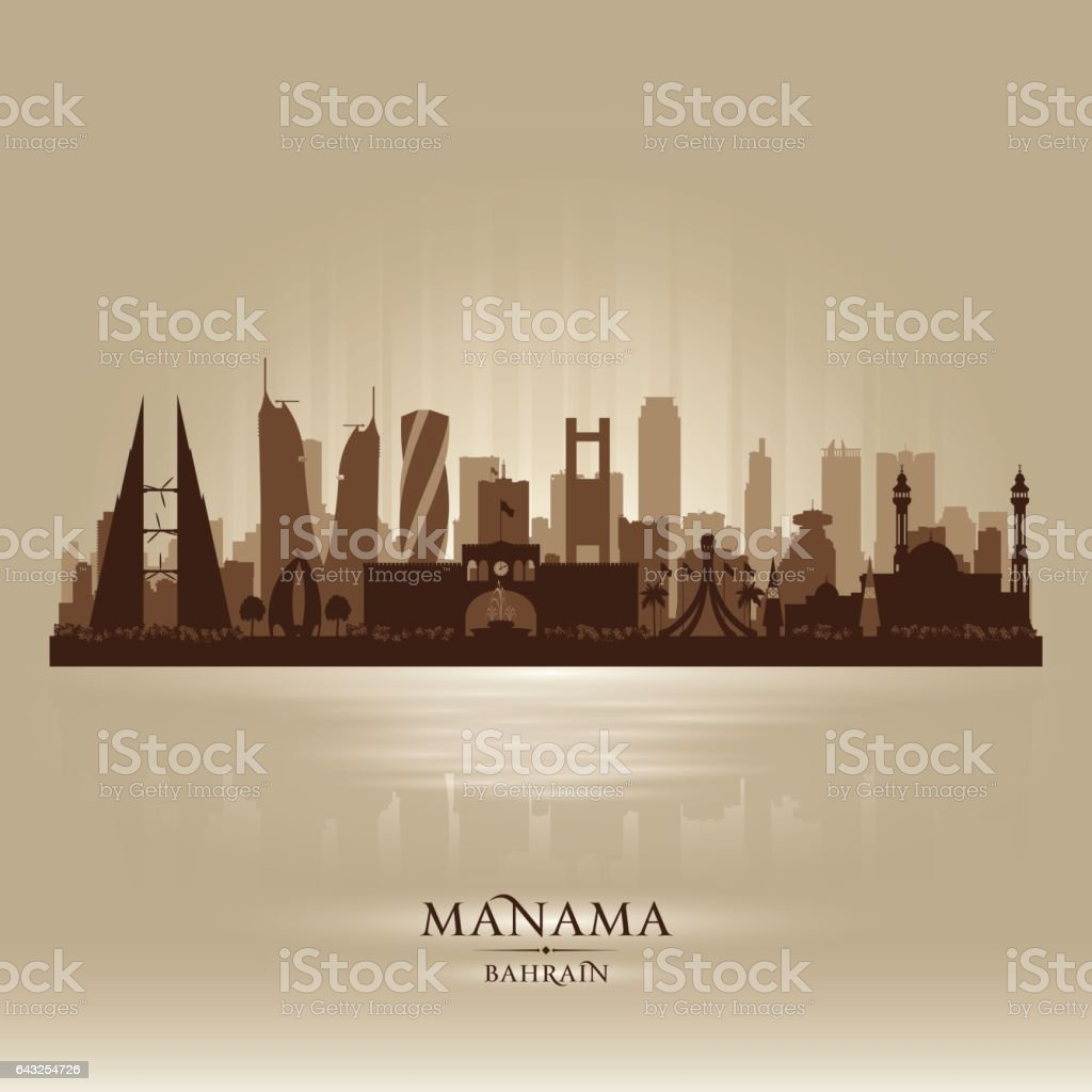 1355611f0489 Manama Bahrain city skyline silhouette royalty-free manama bahrain city  skyline silhouette stock vector art