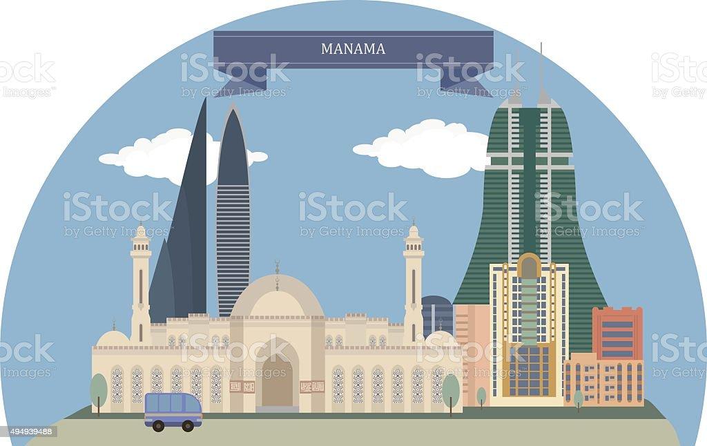 Manama, Bahrain vector art illustration