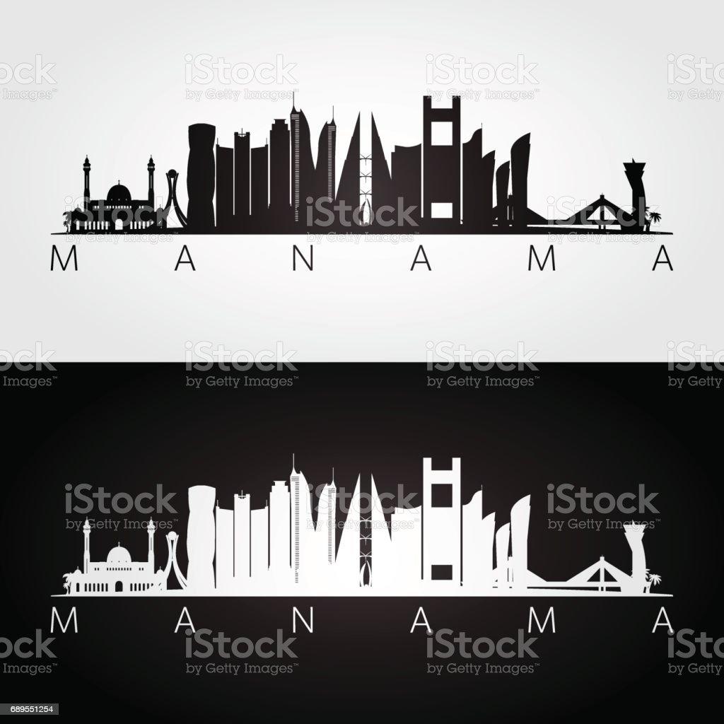 Manama skyline and landmarks silhouette, black and white design, vector illustration. vector art illustration
