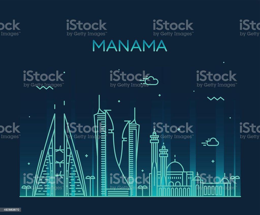 Manama skyline silhouette vector linear style vector art illustration