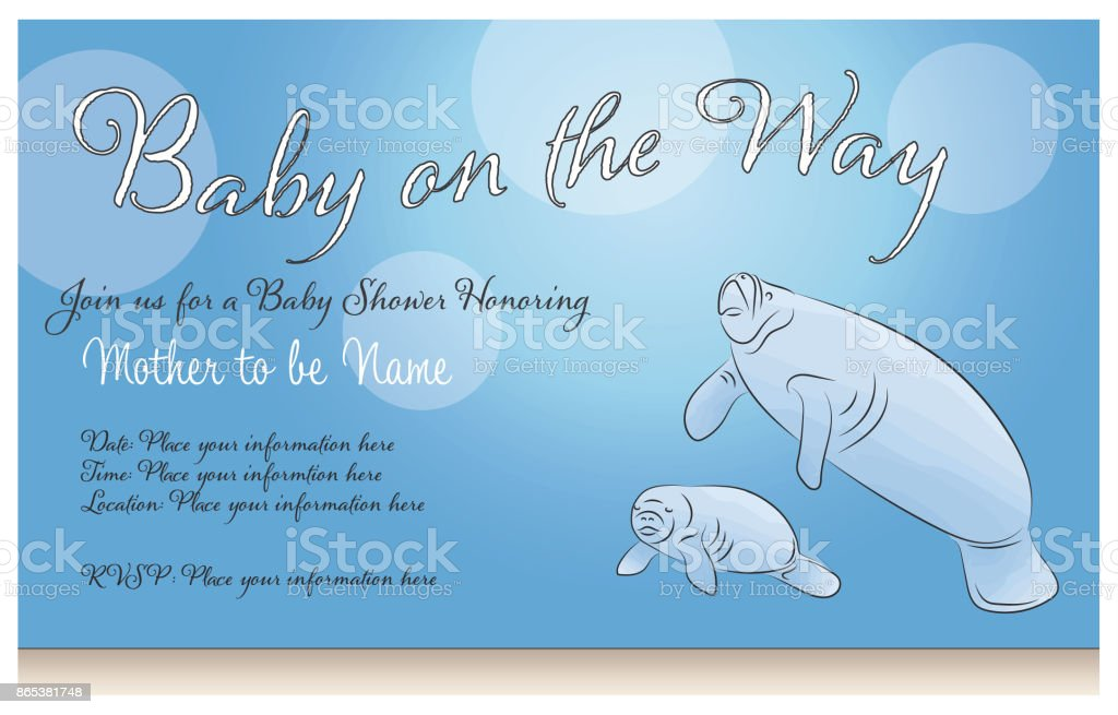 Manatee Mother And Baby Shower Invitation Or Card Stock Vector Art