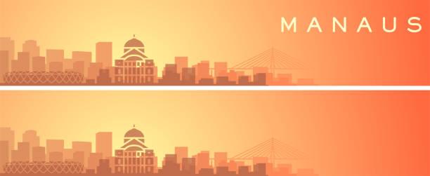 ilustrações, clipart, desenhos animados e ícones de manaus beautiful skyline scenery banner - manaus