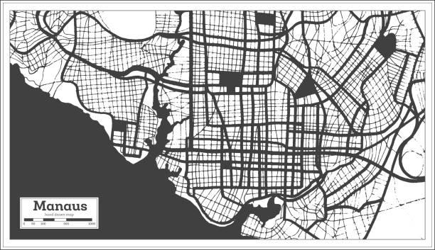 ilustrações, clipart, desenhos animados e ícones de mapa da cidade de manaus brasil em preto e branco colorido em estilo retrô. mapa de contorno. - manaus