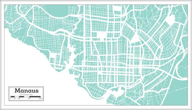 ilustrações, clipart, desenhos animados e ícones de mapa da cidade de manaus brasil em estilo retrô. mapa de contorno. - manaus