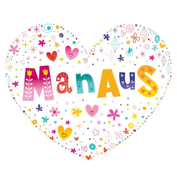 ilustrações, clipart, desenhos animados e ícones de cidade de manaus, no coração do brasil forma design - manaus