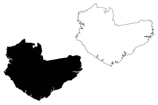 ilustrações, clipart, desenhos animados e ícones de cidade de manaus (república federativa do brasil) mapeia ilustração vetorial, esboço de esboço de esboço da cidade de manaus - manaus