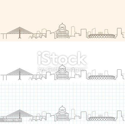 Manaus Hand Drawn Profile Skyline
