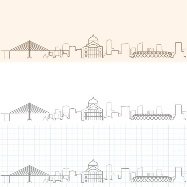 ilustrações, clipart, desenhos animados e ícones de horizonte de perfil desenhado à mão de manaus - manaus