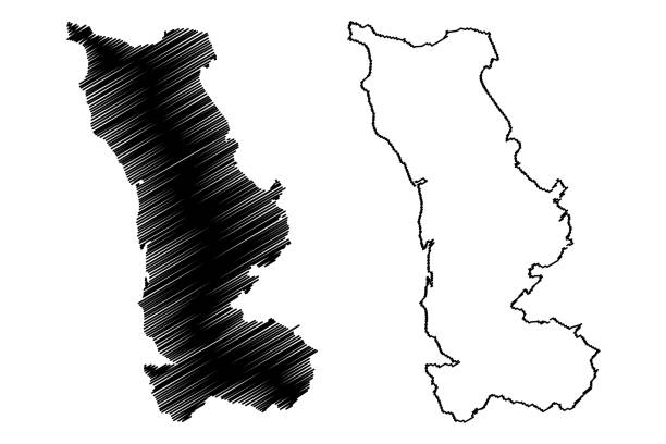 Manche Department (France, French Republic, Normandy or Normandie region) map vector illustration, scribble sketch Manche map Manche Department (France, French Republic, Normandy or Normandie region) map vector illustration, scribble sketch Manche map manche stock illustrations