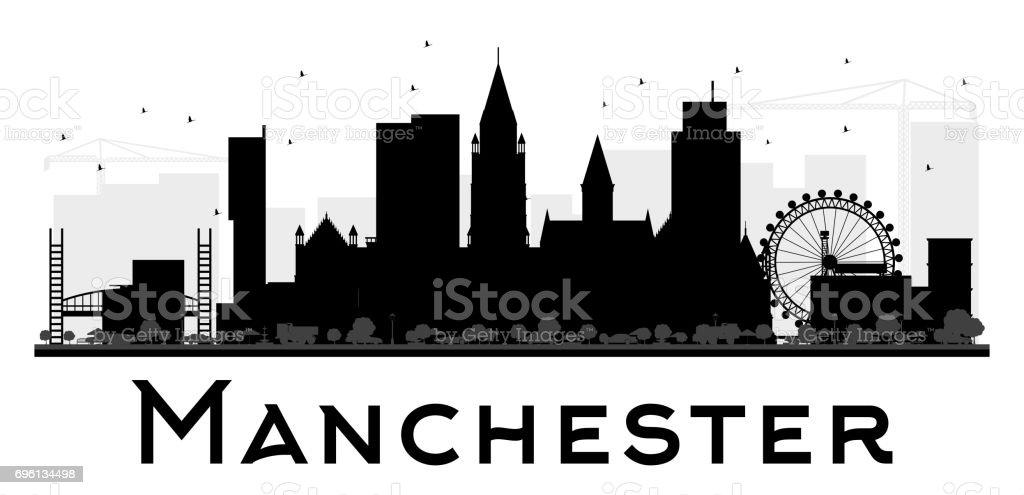 Manchester City skyline black and white silhouette. vector art illustration
