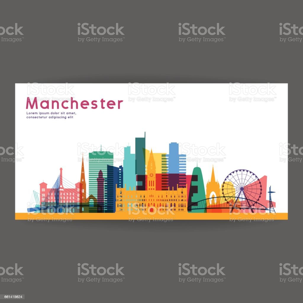 Manchester colorful architecture vector illustration, skyline city silhouette, skyscraper, flat design. vector art illustration
