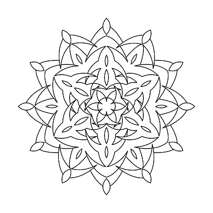 Mandala. Adult Coloring Book. Anti stress Pattern. Shape for Coloring. Floral Oriental coloring Page.