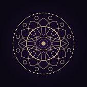 Mandala ancient geometry sacred symbol. Spiritual geometrical shape on ultra violet background.