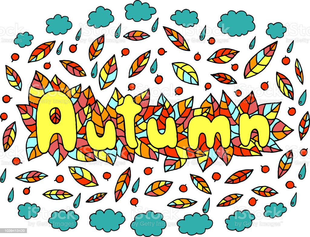 Mandala And Autumn Word Doodle Lettering Colorful Artwork