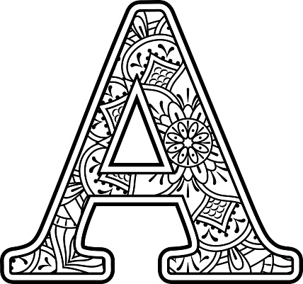Mandala Art Coloring Letter A Stock Illustration ...