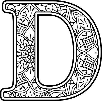 mandala coloring letter d stock illustration