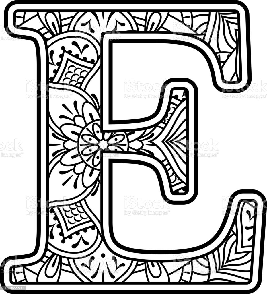 mandala coloring letter e stock illustration