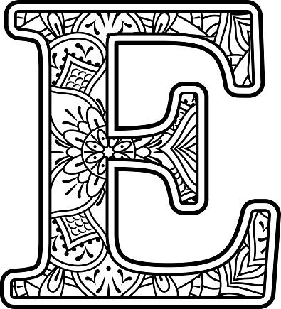 Mandala Art Coloring Letter E Stock Illustration ...