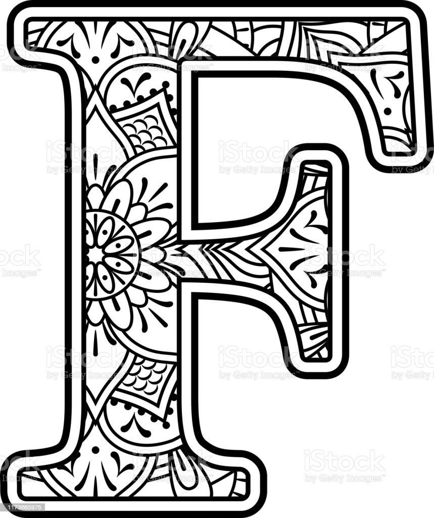 Ilustración de Mandala Arte Coloreación Letra F y más ...